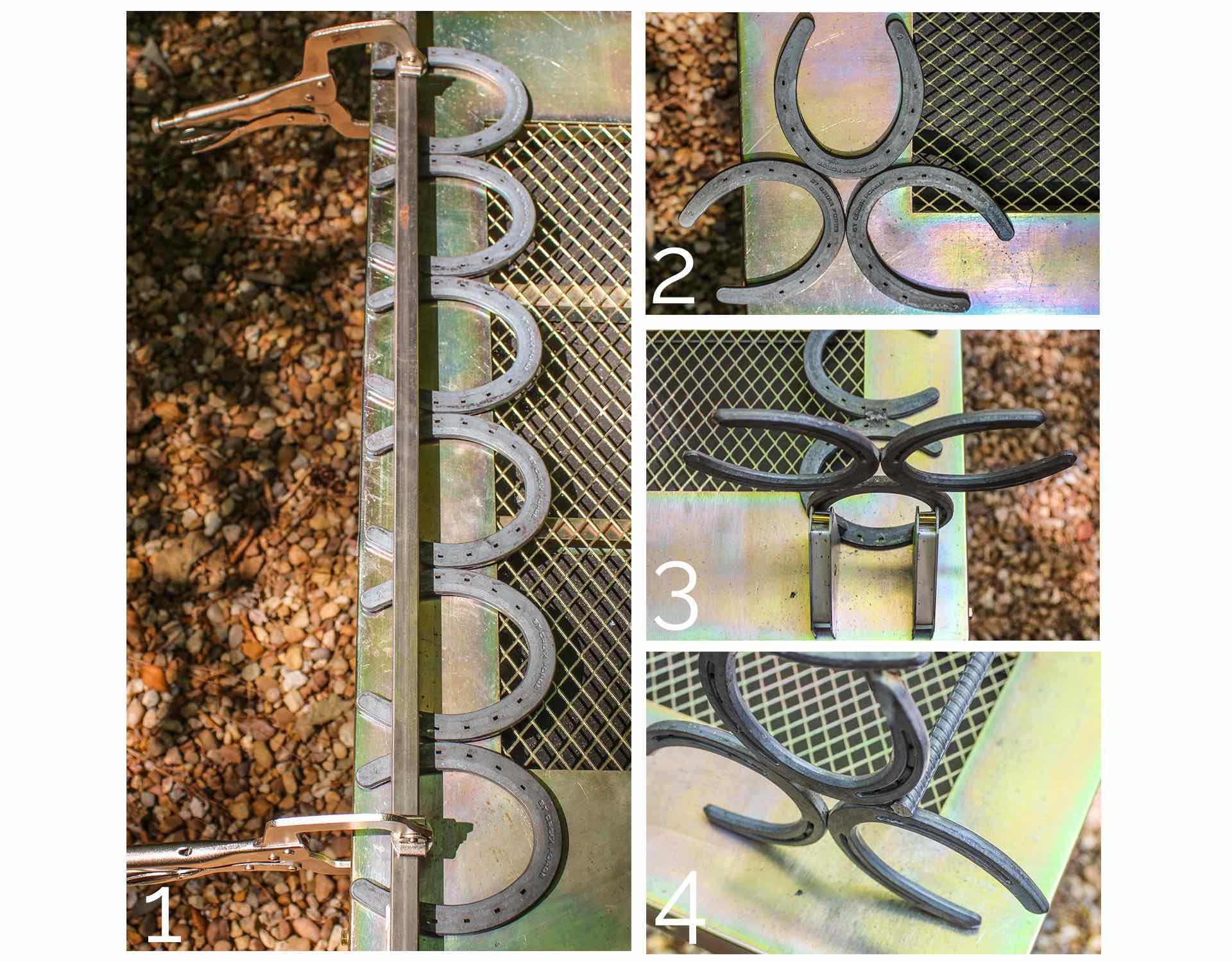 handmade horseshoe book rack steps