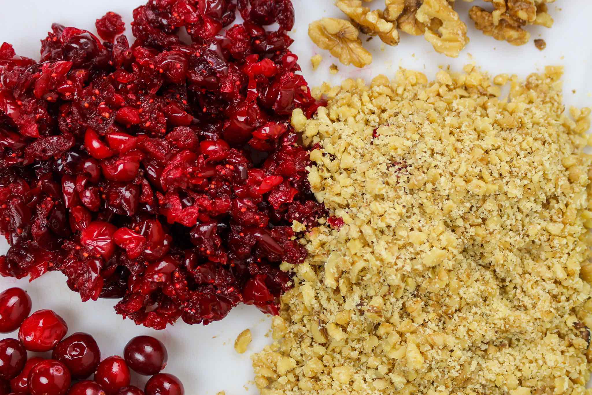 chopped cranberries and walnuts