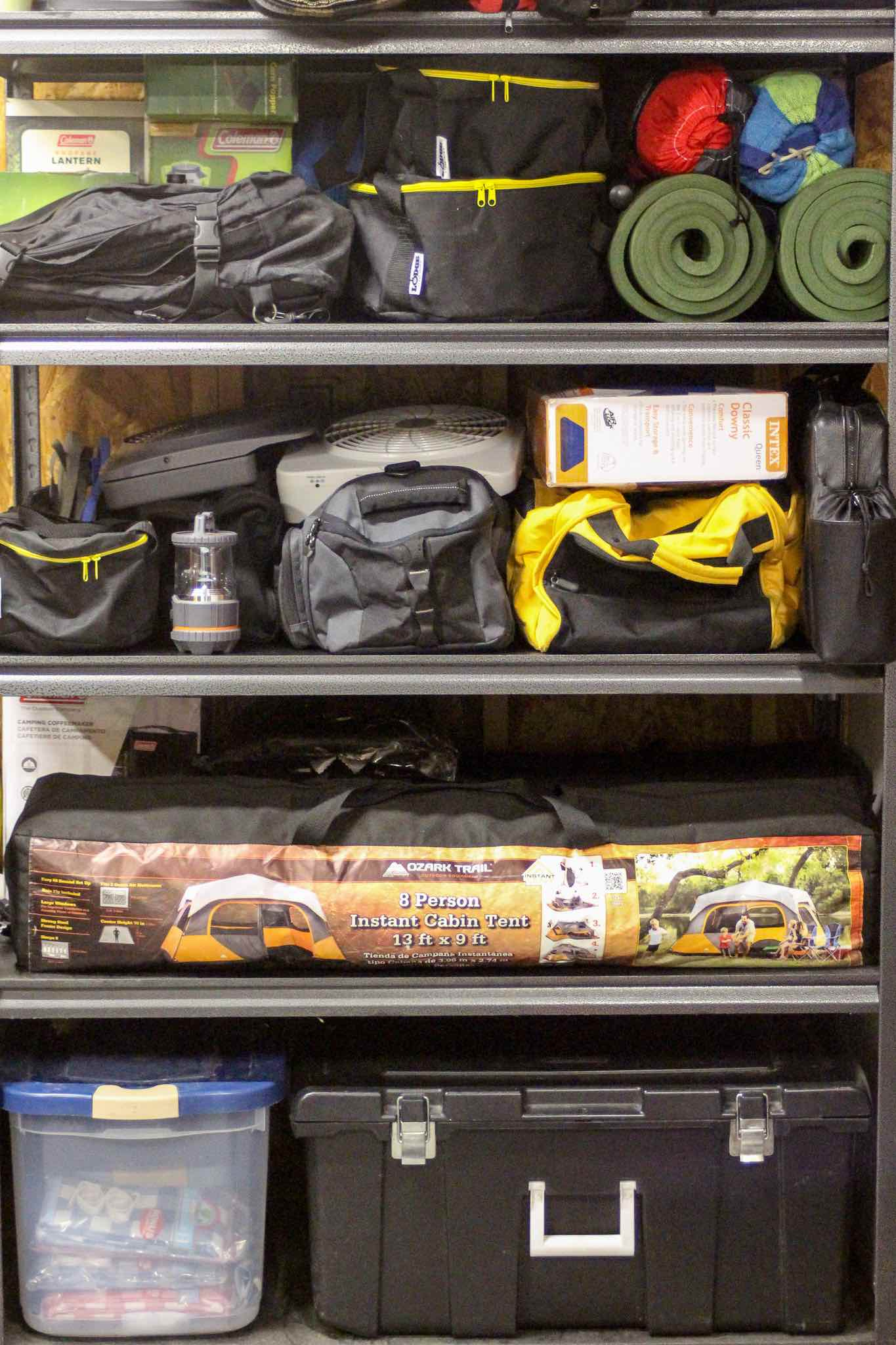 stored car camping gear