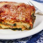 spinach lasagna with homemade marina and pasta