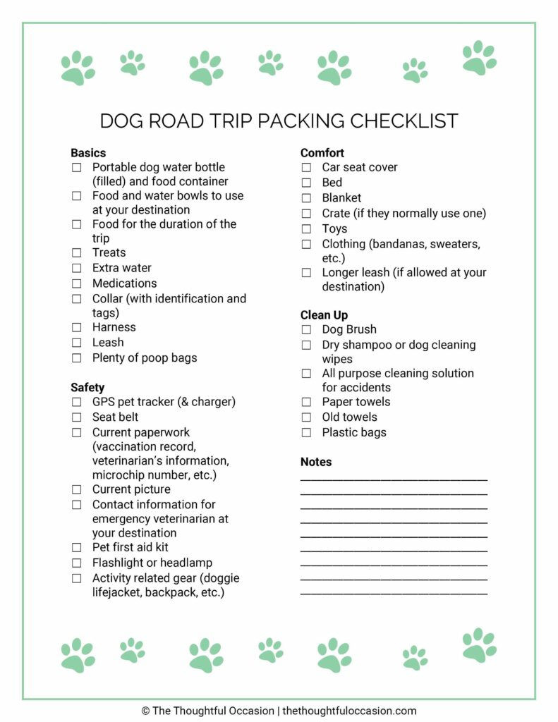 dog road trip packing checklist