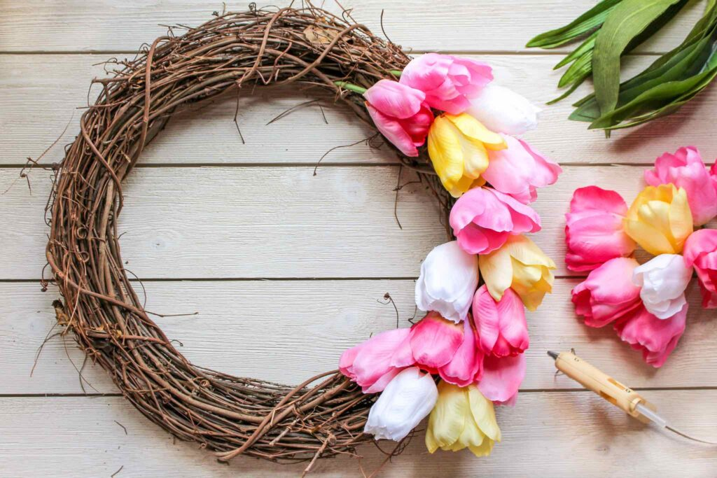 tulips hot glued to wreath